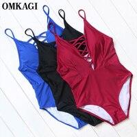 OMKAGI Brand One Piece Swimsuit Swimwear Women Sexy Bodysuit Bathing Suit Beachwear Monokini Push Up Swim