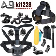 A9 for Gopro Accessories Set For Go pro 5 4 3 EKEN H9R F60R W9R Xiaomi Yi 4K SJ4000 Action Cam with Head Strap Floating Stick