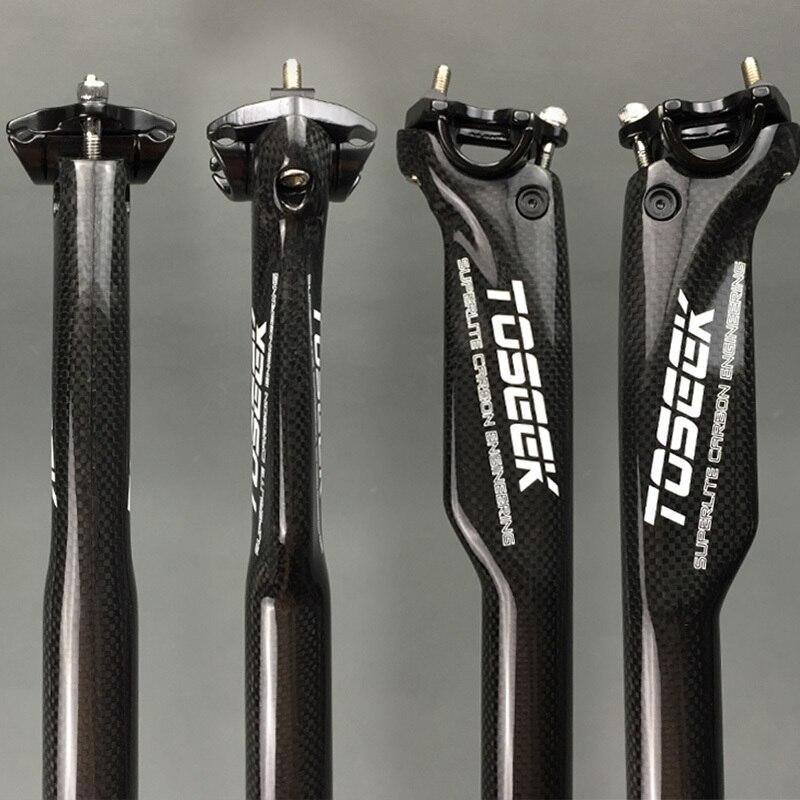 3k Glossy Carbon Bike Seatpost Mtb Road Bike Seat Breaking Wind Carbon Seatpost 27.2 / 30.8 / 31.6 * 350 Or 400mm