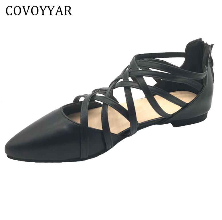 COVOYYAR 2018 Spring Pointed Toe Women Flats Summer Cross Tied Women Ballet Flats Back Zipper Casual Black Shoes WFS325 2017 womens spring shoes casual flock pointed toe narrow band string bead ballet flats flat shoes cover heel women flats shoes