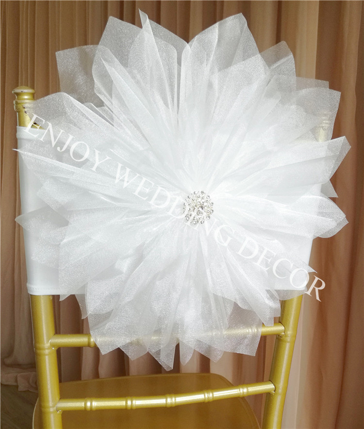 10pcs YHC 303 CUSTOMIZED COLOR AVAILABLE handmade organza flower with lycra band for chair decor