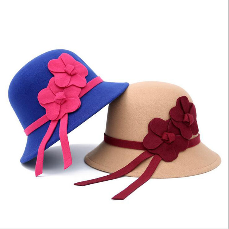 [ozyc] Vintage Stylish Fall Winter Fedoras Hat For Women Flowers Top Hat For Lady Girls Floppy Cartola Female Felt Bowler Cap