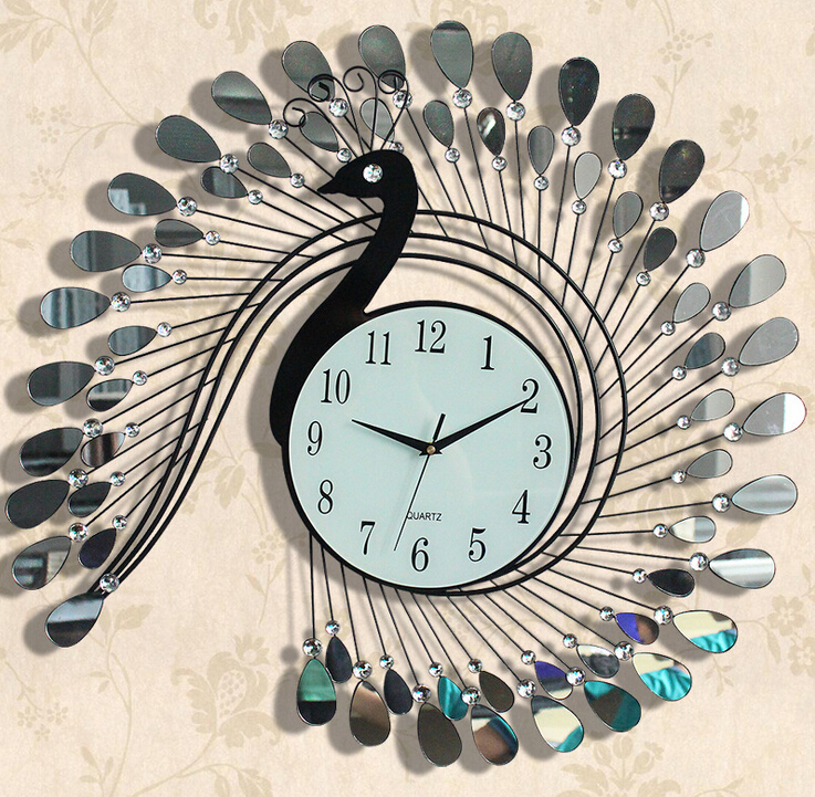 Peacock Quartz Fashion Wall Clock Modern Style Wall , Metal Clock Art  Acrylic Decoration Stainless Steel Iron Design Wall Clock In Wall Clocks  From Home ...