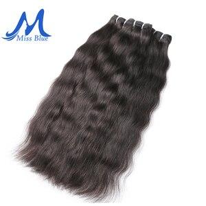 Image 1 - Missblue 生インドのバージンヘアバンドルグレード 10A インディアンナチュラルストレート人間の毛髪織り延長 1 3 4 10p/送料無料
