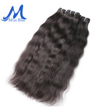 Missblue Raw Indian Virgin Hair Bundles Grade 10A Indian Natural Straight Human Hair Weave Extension 1 3 4 P/Lots Free Shipping(China)