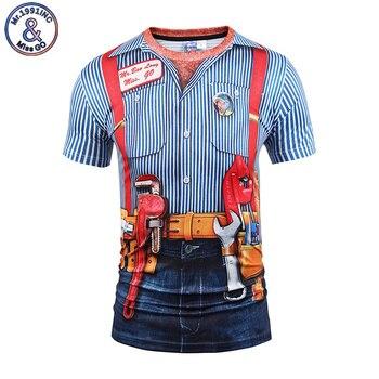 Mr.1991INC, nuevo estilo, camiseta de manga corta a la moda de verano para hombre, Camiseta con estampado 3D de dos piezas falsas, divertida camiseta con cinturón, camiseta a rayas, reparador