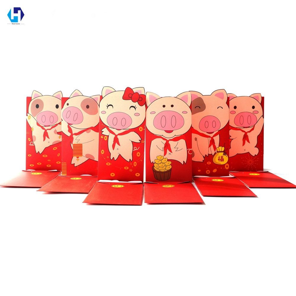 Heart Moon 2019 New Year Pig Red Paper Envelope for Chinese Spring Festival Red Packet Money Gifts for Baby Wedding 6pcs/lot gift for boyfriend on anniversary