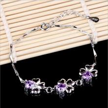 TJP Charm Purple Cubic Zirconia Stones Clover Female Bracelets Jewelry High Quality 925 Sterling Silver Bangles For Women Party