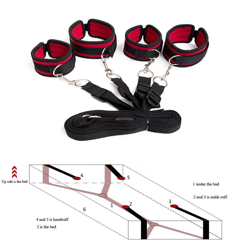 Sex Handcuffs BDSM bondage Sexy Lingerie Set Adult Restraints Bed Mattress Set Lingerie Sexy Hot Erotic Costumes for Sex(China)
