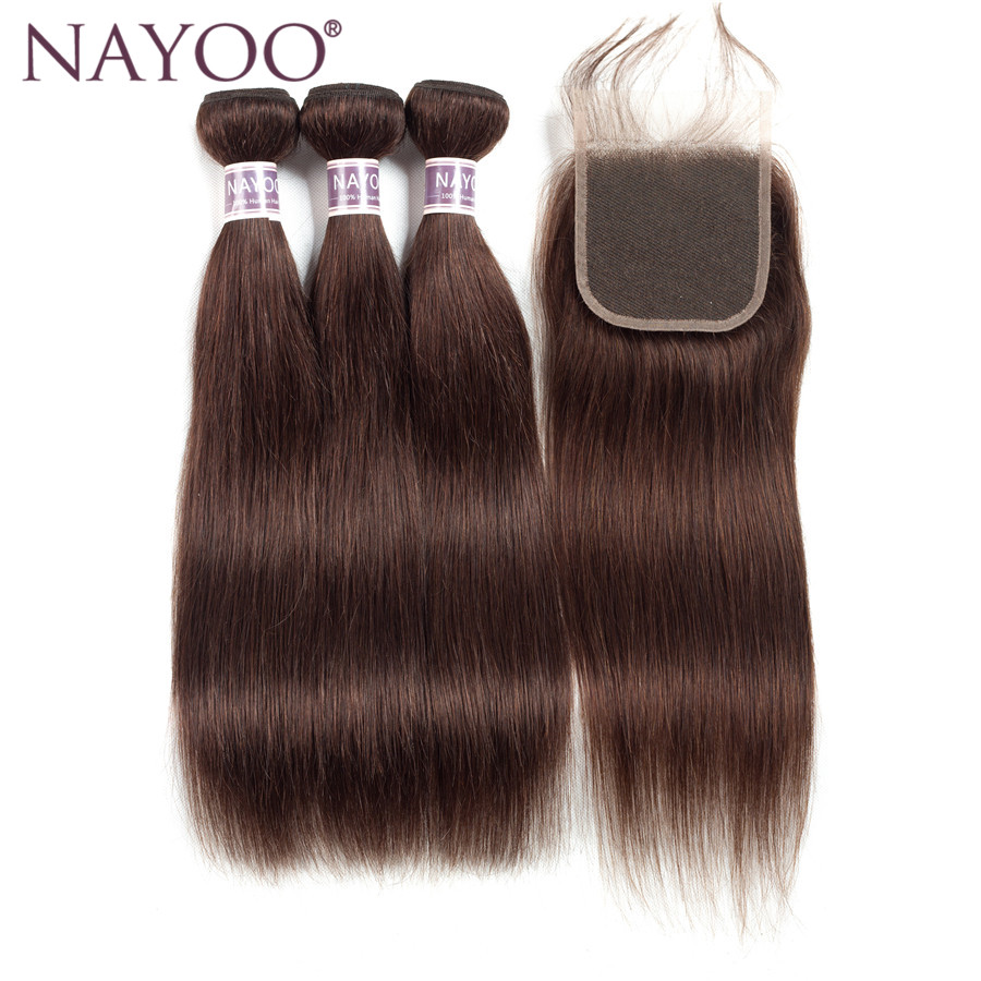 NAYOO Hair Brazilian Straight Hair 3 Bundles With Closure #2 Darker Brown Non Remy Human Hair Extensions Weaves Cheap Deals