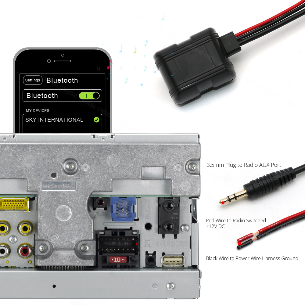 hight resolution of atocoto car stereo truck home add on 3 5mm jack aux input audio bluetooth module receiver wireless audio input adapter 12v in bluetooth car kit from