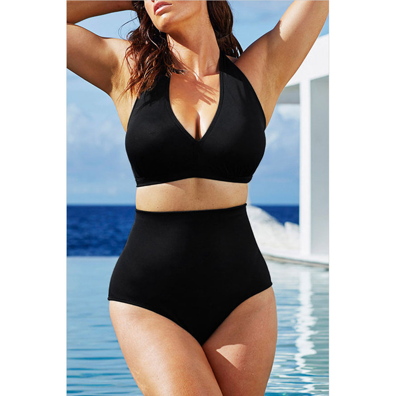 2017 New Plus Size Swimwear Women Maillot De Bain Femme High Waist Swimsuit Solid Biquini Bathing Suits Brazilian Bikini Set 3XL 2017 new jeans women spring pants high waist thin slim elastic waist pencil pants fashion denim trousers 3 color plus size