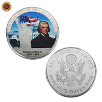 WR US President Series Challenge Coin 3th President Thomas Jefferson Silver Plated Coin Make America Great Again Metal Coin