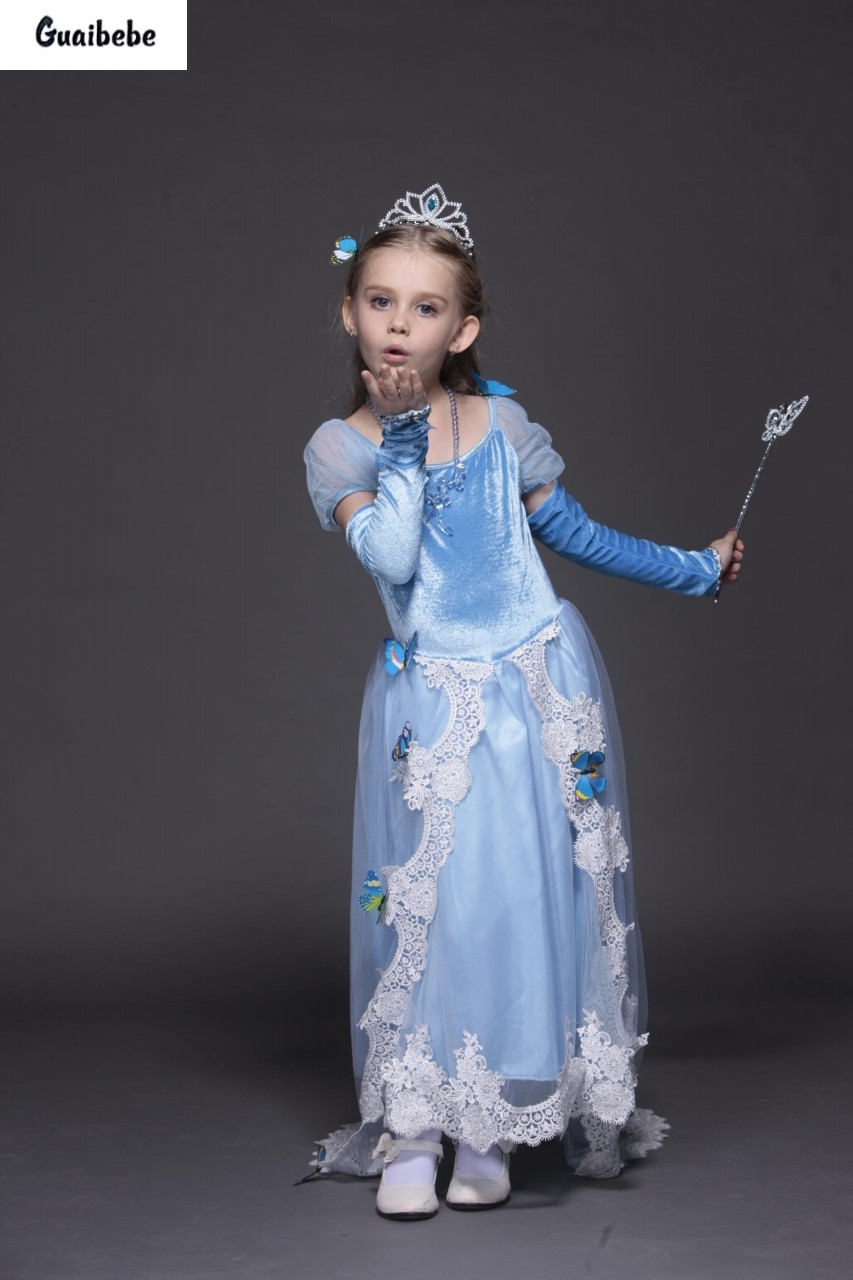 New Dresses Fashion Princess Girls Flower 6-9Year Dress High Quality Girls Princess Costume Party Brand Butterfly Bud Silk Dress high quality girls baby hollow out bud silk condole belt dress princess party dresses children s clothing wholesale