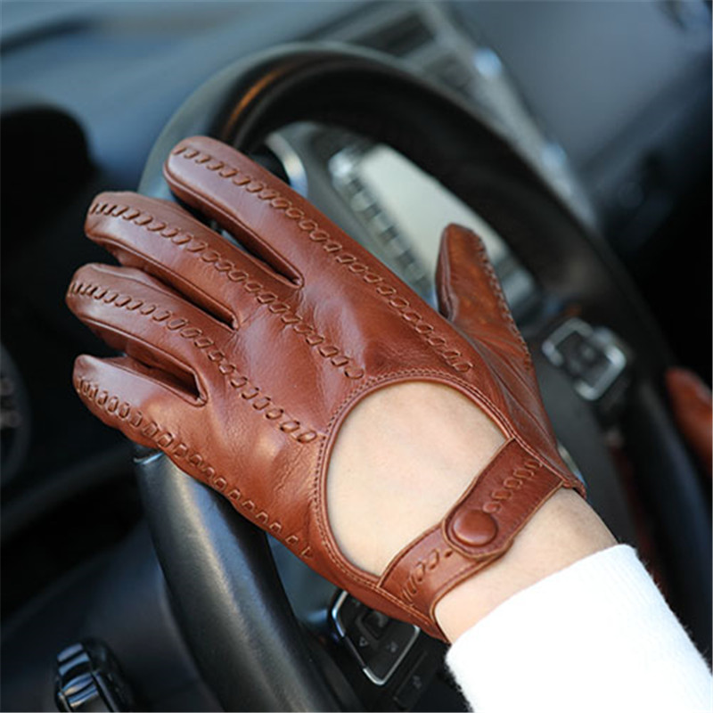 2015 New Mens Lambskin Leather Driving Wrist Gloves Elasticated Cuff