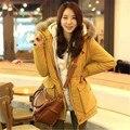 Mais Grossa De Veludo de Lã Longo-Luva de Algodão Down Jacket 2016 Nova Moda Coreano Sólida