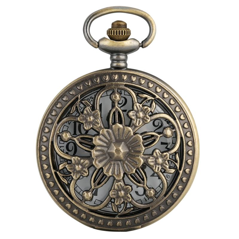 Antique Bronze Hollow Rose Flowers Openwork Five-pointed Flower Cover Floral Rattan Pocket Watch Necklace Pendant Art Collection