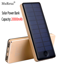 Portable Solar Power Bank 20000mAh Solar Panel Externa Portatil Dual USB  External Backup Battery Powerbank