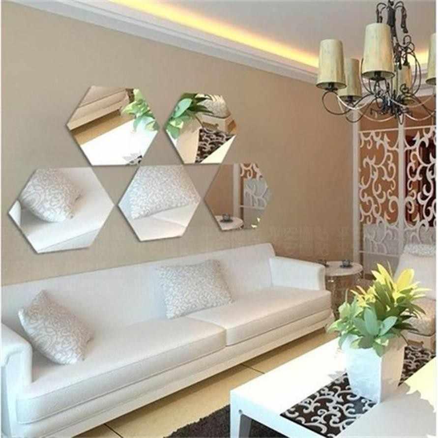 7 pçs espelho 3d hexágono vinil removível adesivo de parede decalque decoração para casa arte diy espejos decorativos para paredes # p