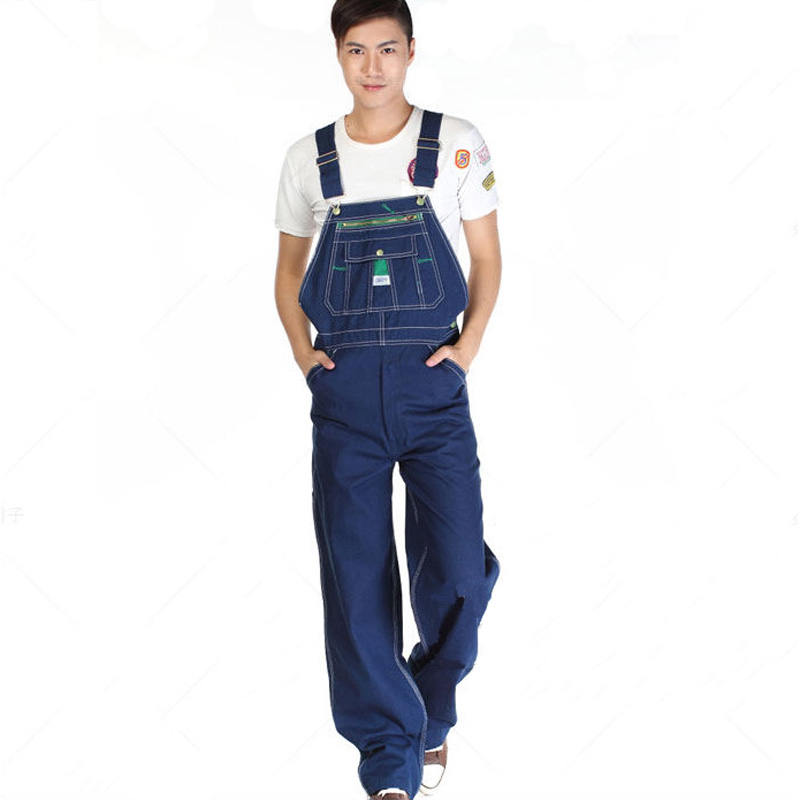 Image 4 - Sokotoo Men's casual loose green zipper bib overalls Male plus large size denim jumpsuits Huge pants Free shipping-in Jeans from Men's Clothing