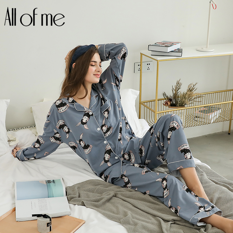 Blue long Sleeve Tops And Pants   Pajama     Sets   For Women Fashion Cartoon Rabbit Print   Pajama     Set   Spring Casual Sleepwear   Set