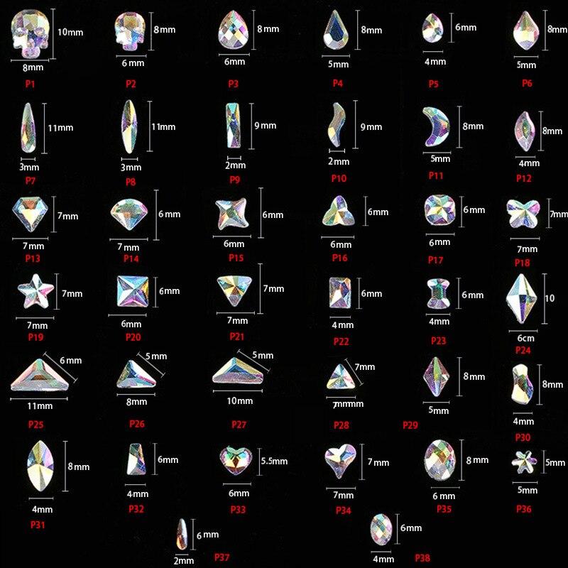 38 Kinds 20pcs/bag K9 No Glue Glass Nail Rhinestone Ab Flat Back Nail Stone Star Teardrop  Square Horse Eye  Swarovsky Crystals