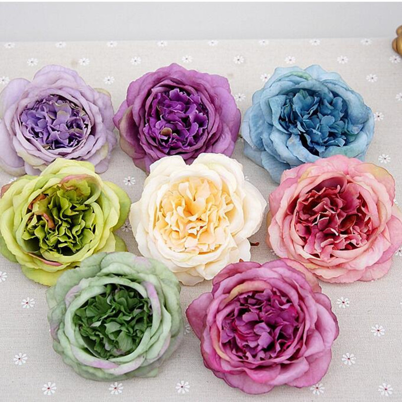 New Arrivals Fake Rose Flower Head Artificial Oil Painting Effection ...