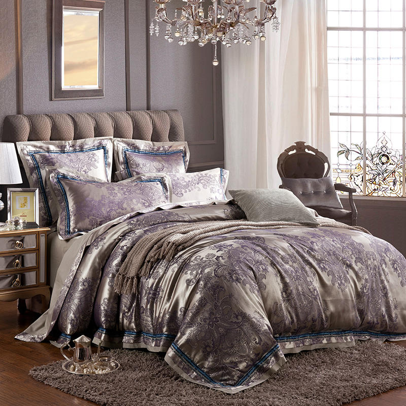 Luxury Silver Satin Jacquard Queen King Bedding Set Bed Cover Cotton Bedsheet Duvet Cover Bed Set Parure De Lit Ropa De Cama