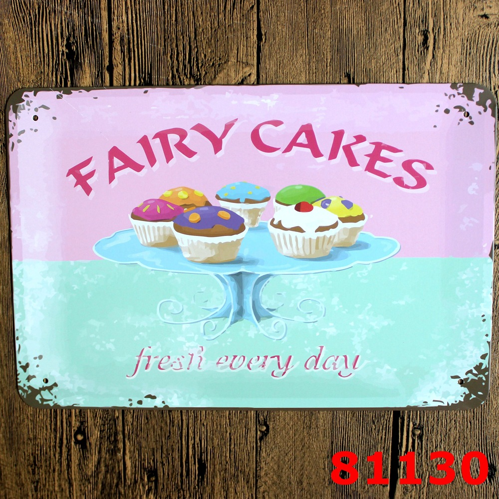 Vintage Metal Tin Signs Cake Dessert Hamburger Plaque Poster Bar Pub ...