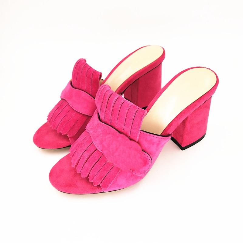 Stkehidba modne sandały na lato prawdziwe zamszowe skórzane buty damskie wysokie obcasy pompy kobiety otwarte buty z odkrytymi palcami najwyższej jakości marki w Buty damskie na słupku od Buty na  Grupa 1