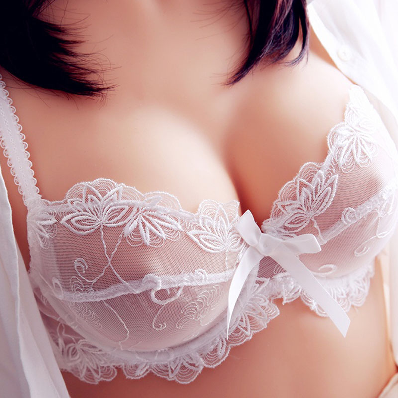 Sexy Embroidery Transparent Bras Set Women Plus Size Lingerie Set Ultra thin C D Cup Underwear Bow Brassiere panties Bra Set