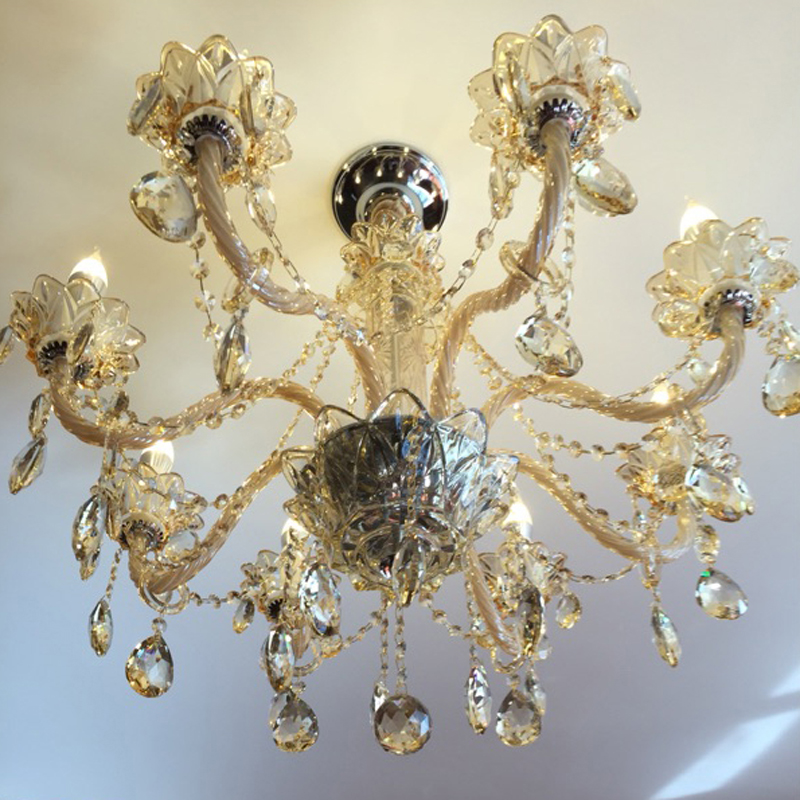 Romantic champagne crystal chandelier chain lustre light manor romantic champagne crystal chandelier chain lustre light manor clubhouse lights bedroom k9 crystal chandelier chains in chandeliers from lights lighting audiocablefo