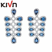KIVN Fashion Jewelry Pave CZ Cubic Zirconia Chandelier Women Girls Bridal Wedding Earrings Christmas Promotion Birthday Gifts