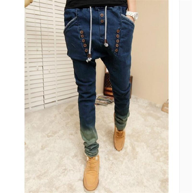 2016 New jeans men dark blue mens brand male pants casual trousers plus size jean joggers biker