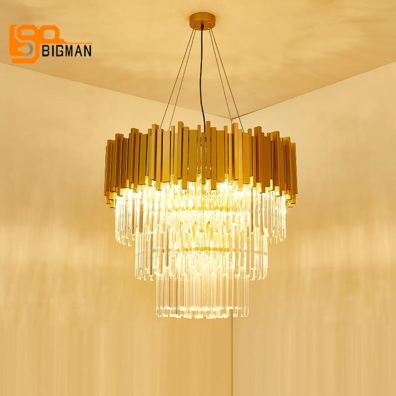 luxury design crystal pendant chandeliers modern lamp AC110V 220v gold dinning room living room LED crystal lights