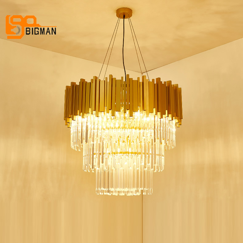 luxury design crystal pendant chandeliers modern lamp AC110V 220v gold dinning room living room LED crystal lights