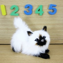 Simulation white cat polyethylene&furs cat model funny gift about 12cmx5cmx10cm