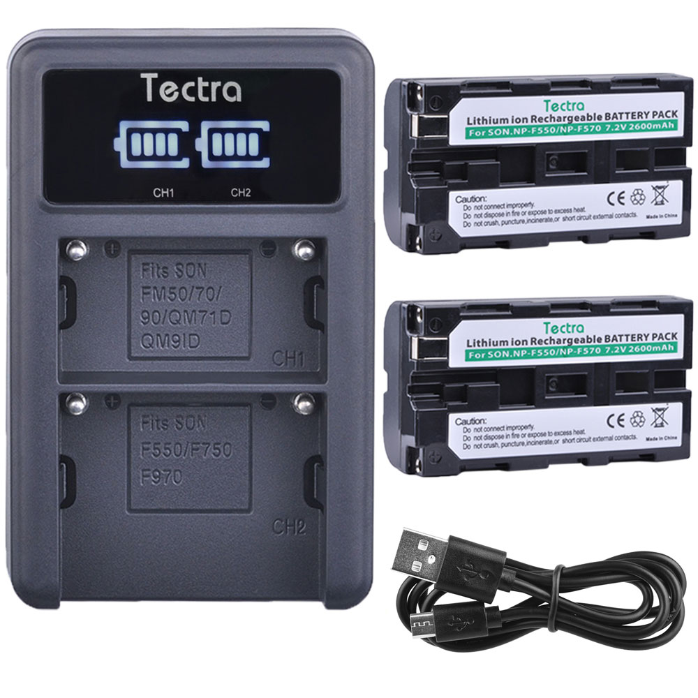 Tectra 2600mAh 2PCS NP-F550 NPF550 NPF570 Battery for Sony CCD-SC55 NP-F570 Battery+LED Display Universal USB Dual ChargerTectra 2600mAh 2PCS NP-F550 NPF550 NPF570 Battery for Sony CCD-SC55 NP-F570 Battery+LED Display Universal USB Dual Charger