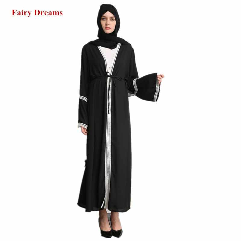 Черный хиджаб abaya для женщин Дубай Болеро кафтан Marocain Бангладеш турецкий мусульманский халат кимоно кардиган Малайзии Исламская одежда