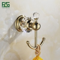 FLG Free Shipping Bathroom Accessories Wall Mounted Brass Crystal Golden Color Double Robe Hook Clothes Hooks Coat hooks 87502