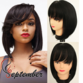 Short Bob Wig Woth bangs brazilian synthetic lace front wig for black women heat resistant synthetic wig no lace wig cheap hair