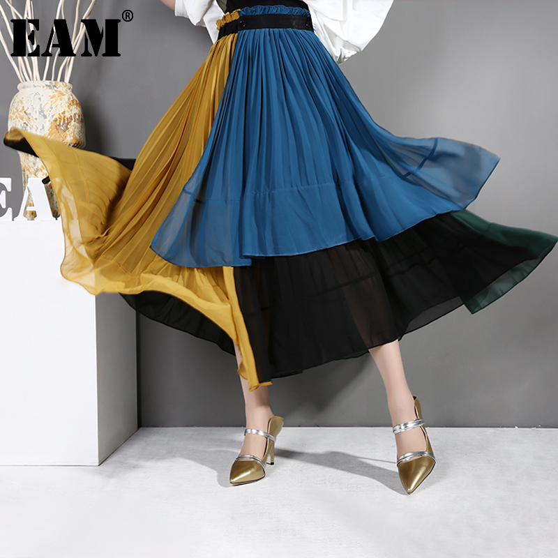 [EAM] 2020 New Spring Summer High Elastic Waist Blue Chiffon Hit Color Pleated Irregular Half-body Skirt Women Fashion Tide JG20