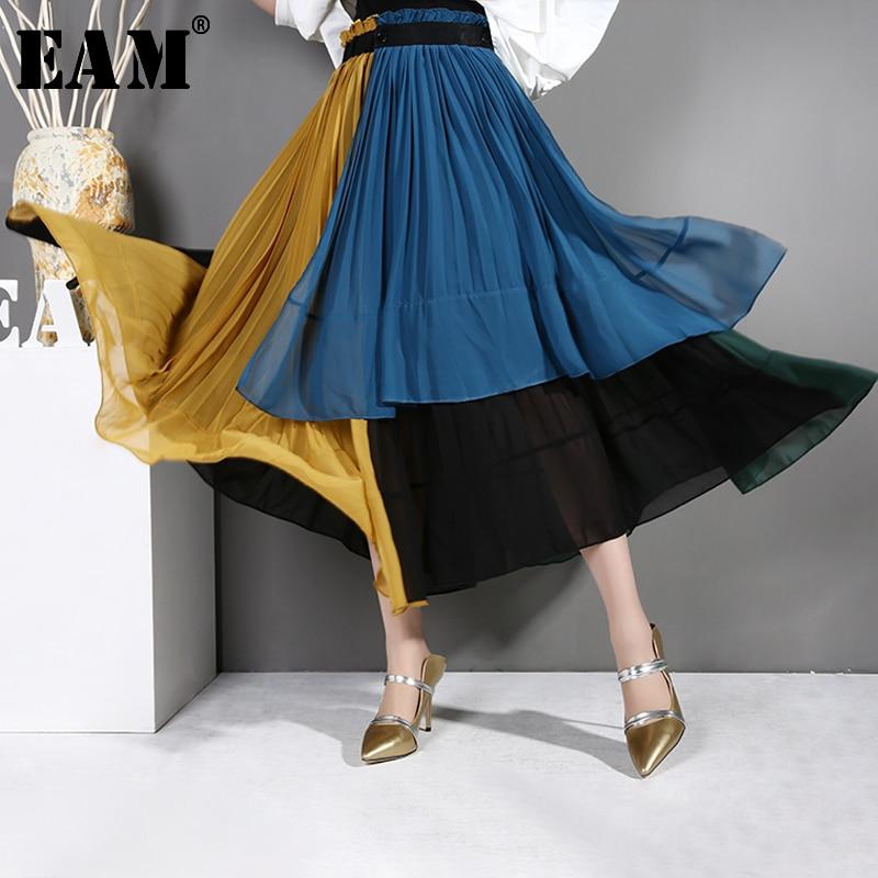 [EAM] 2020 New Spring Summer High Elastic Waist Blue Chiffon Hit Color Pleated Irregular Half-body Skirt Women Fashion Tide JG20