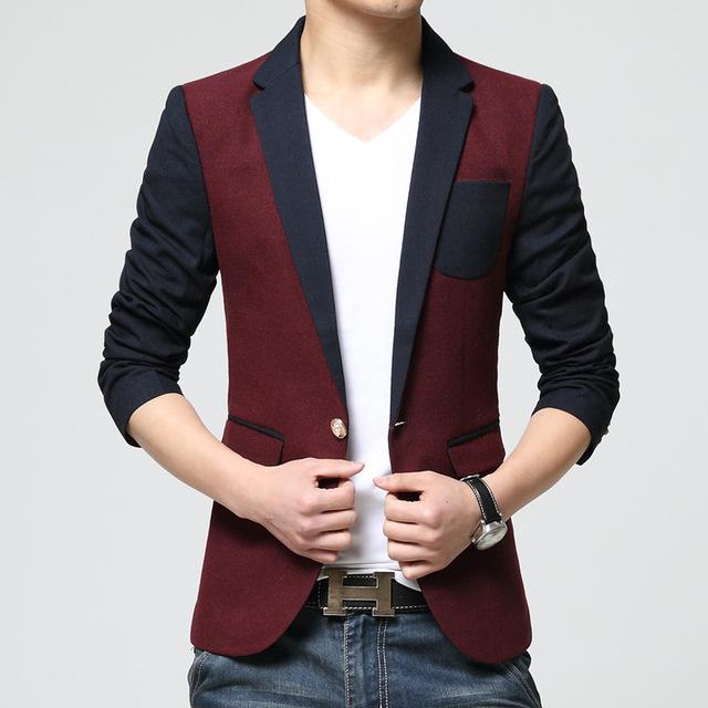 2017New ropa de Hombre Delgado Ocasional de Algodón de Manga Larga de Un Solo Pecho Turn-Down Collar Cotton Leisure Suit Chaquetas Freeshipping