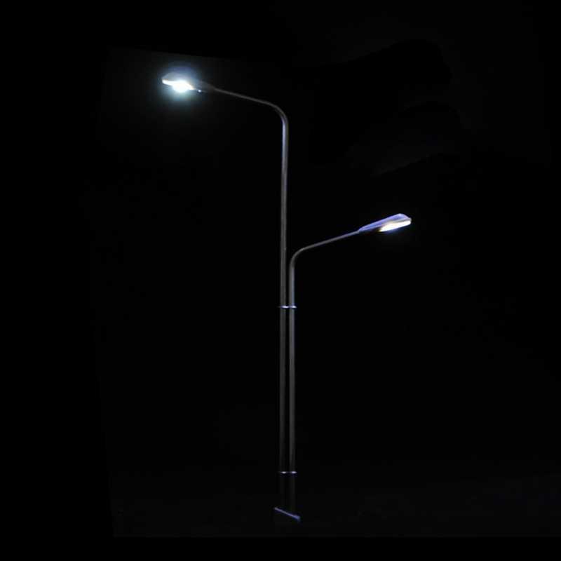 2 Led w skali 1:100 światła uliczne dekoracje Mini latarni na piaskownica stołowa Model słup latarni do pociągu kolejowego ulicy krajobrazy typu B