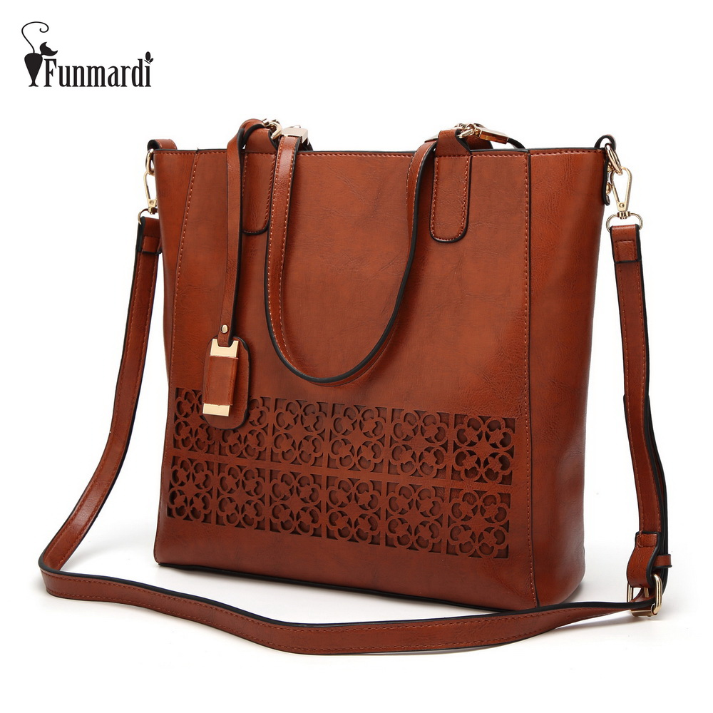 FUNMARDI Hollow Out Oil Wax Leather Handbag Casual Summer Women's Bag Novelty Style Leather Bag Female Totes Bags WLHB1670
