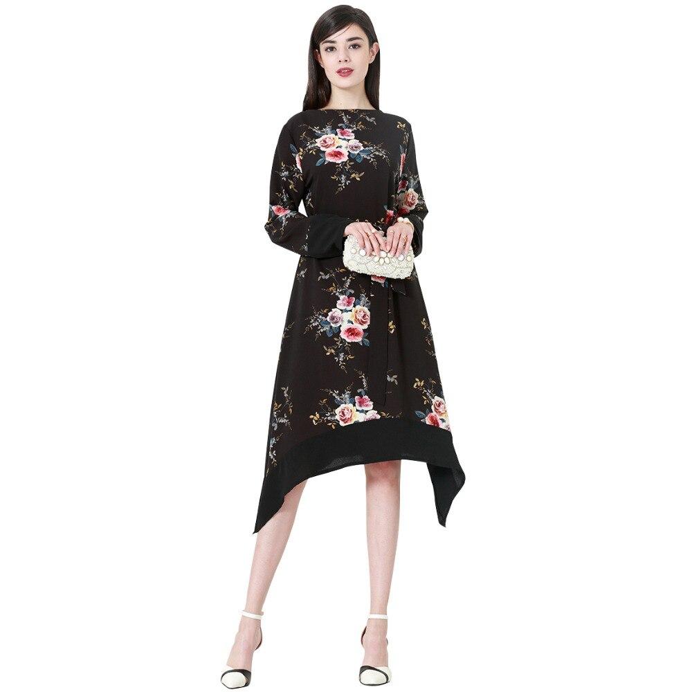 Black Irregular Flowers Print Muslim Blouse Tops Loose Shirt Dress