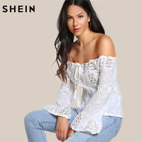 SHEIN Tassel Tie Lace Panel Embroidered Bardot Top White Off The Shoulder Tops For Women Long