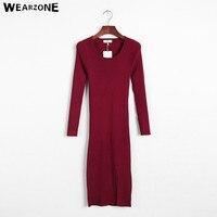 2016 Vintage O neck Side Split Slim Sexy Bodycon Knitted Long Sweater Dress Autumn Winter Women Long sleeve Knitwear OL Dresses