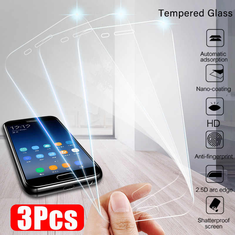 3-1Pcs Protective Glass For Samsung Galaxy A7 A8 Plus 2018 Tempered Glass For Samsung A5 A3 A7 2017 J7 J5 2016 Screen Protector